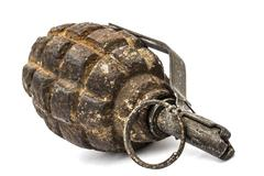 Old combat grenade isolated on a white background Stock Photos