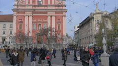 Preseren Square crowded with people in Ljubljana Stock Footage