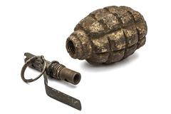 Old grenade and fuse, isolated on white background - stock photo