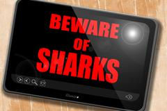 Beware of sharks sign - stock illustration