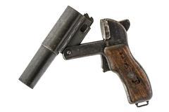 Old  signal pistol, flare gun and cartridges, isolated on white background Kuvituskuvat