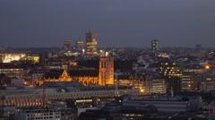 Bruxelles city skyline illuminated at night Stock Footage
