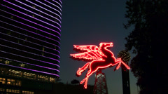 Pegasus Horse With Swirling  Reunion Tower  Lights Stock Footage
