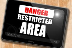 Restricted area sign - stock illustration