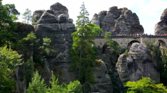 Bastei brigde in Germany - stock footage