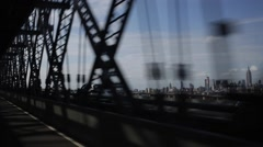 Driving Fast on New York City Bridge Stock Video Stock Footage