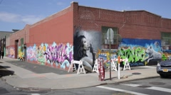 Wall Art Graffiti in Williamsburg Brooklyn New York Stock Video Stock Footage
