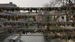 Padlocks on the railing of Butchers' Bridge in Ljubljana Stock Footage