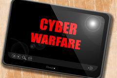 Cyber warfare background - stock illustration