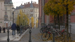 Preseren Square seen from the Franciscan Church's corner in Ljubljana Stock Footage
