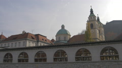 Saint Nicholas' Church top in Ljubljana Stock Footage