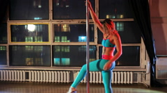 Young  woman pole dance Stock Footage