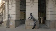 Clients entering in Grand Hotel Union in Ljubljana Stock Footage
