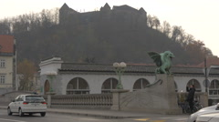 View of Dragon Bridge traffic, near Ljubljana Castle Stock Footage