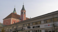 Franciscan Church steeples in Ljubljana Stock Footage
