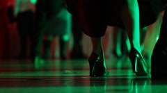 Close up of legs of a woman professional dancer having fun on the night club - stock footage