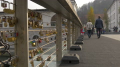 Walk on the Butchers' Bridge in Ljubljana Stock Footage