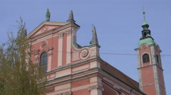 View of the Franciscan Church of Annunciation in Ljubljana Stock Footage