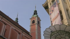 Low angle view of Franciscan Church of the Annunciation in Ljubljana Stock Footage