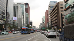 SEOUL, SOUTH KOREA - Traffic passes through Seoul's prestige Gangnam area. Stock Footage