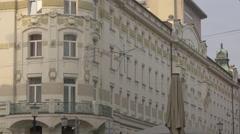 White building in Prešernov trg in Ljubljana Stock Footage