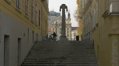Stairs with Gledališka stolba in Ljubljana Stock Footage