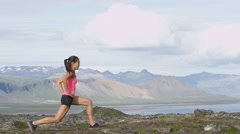 Fitness girl doing lunges exercise in nature - exercising woman training Stock Footage