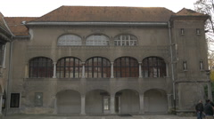Old building with arched windows in Ljubljana Stock Footage