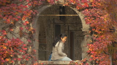 Woman standing on a window covered by autumn leaves in Ljubljana Stock Footage