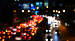 Out of focus night traffic, Bangkok, Thailand - stock footage