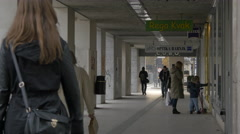 Walking on an outside corridor in Ljubljana Stock Footage