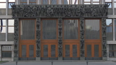 Bas relief on the Parliament of Slovenia building in Ljubljana Stock Footage