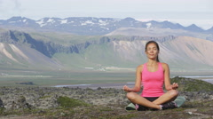 Meditation yoga woman meditating in nature - Healthy wellness lifestyle Stock Footage