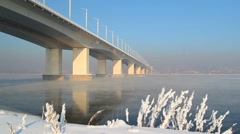 A new bridge over the Angara river Stock Footage