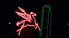 Pegasus Horse And Neon Skyscraper Stock Footage