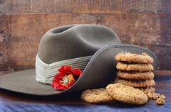 Australian Army Slouch Hat and Anzac Biscuits. Stock Photos