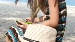 Girl using touch screen device - stock footage