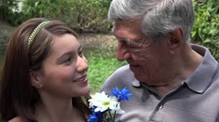 Teen Girl And Grandfather Smiling Stock Footage