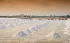 salt farming in Thailand - stock photo