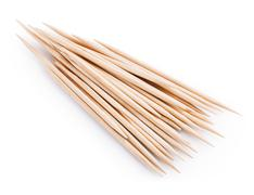 wooden toothpick isolated - stock photo