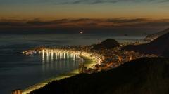 Sunset over Copacabana Beach in Rio De Janeiro. Timelapse - stock footage