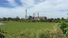 Factory pollution in the middle of a ecologic reserve - stock footage