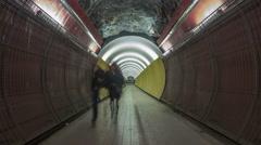 Futuristic time-lapse Brunkebergstunneln Stockholm Stock Footage