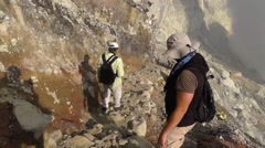 Tourists descend into the Ijen volcano crater,Java Stock Footage