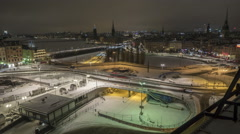 Stockholm slussen ( the sluice ) Winter time-lapse Stock Footage