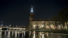 Stockholm City hall winter night time-lapse Stock Footage