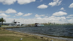 T_Lapse View of Barrack ferries terminal near swan river Stock Footage