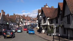 Lavenham England main street traffic historic village 4K Stock Footage
