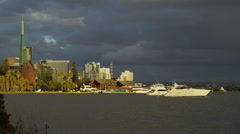 Swan Bell Tower And Boats On Swan River at Sunset - stock footage
