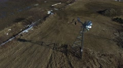 4k aerial windmill closeup Stock Footage